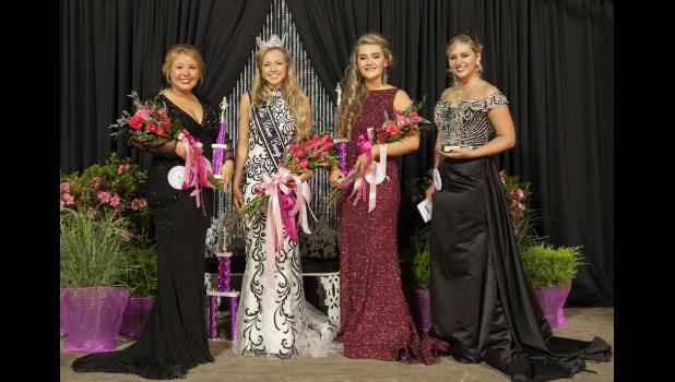 Erin Dillow was crowned Sunday night as the 2017 Union County Fair queen. The queen and her court are Jericha Carter, second runner-up; 2017 fair queen Erin Dillow; Grace Pitts, first runner-up; and Brookelyn Cast, Miss Congeniality. Photo by Tiffiny Dillow for The Gazette-Democrat.