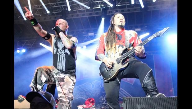 The band Five Finger Death Punch performed during the Moonstock Music Festival at Walker's Bluff in Carterville. Photo by Lindsey Rae Vaughn.