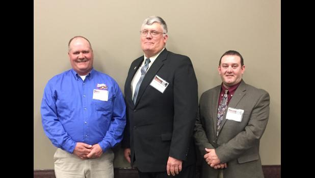 Union County farmers who attended the conference included, from left, Jeff Flamm  from Cobden; Mark Eddleman, president of the Union County Farm Bureau, from Dongola; and Paul Rich, director, Union County Farm Bureau, from Anna. Photo provided.