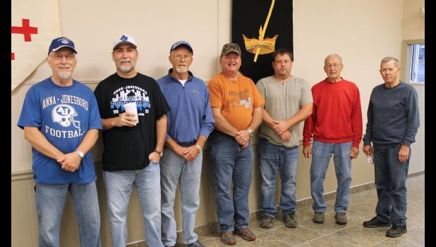 Volunteers from the First Evangelical Presbyterian Church were, from left, Bo Utley, Mark Laster, Ron Hubbs, John Hughey, Robert Lence, Gary Meyer and Larry Goldsmith. Photo by Lindsey Rae Vaughn.