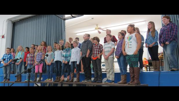 The 3rd and 4th grades sang some very country songs for their grandparents. Photo by Amber Skelton.