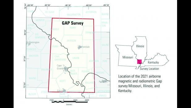 The survey will be conducted in Southern Illinois and Southeast Missouri areas highlighted on the map.
