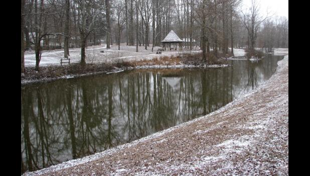 Light snow was falling when this picture was taken on Thursday, Jan. 5, at the Lincoln Memorial Picnic Grounds in Jonesboro. Snowfall amounted to about half an inch.
