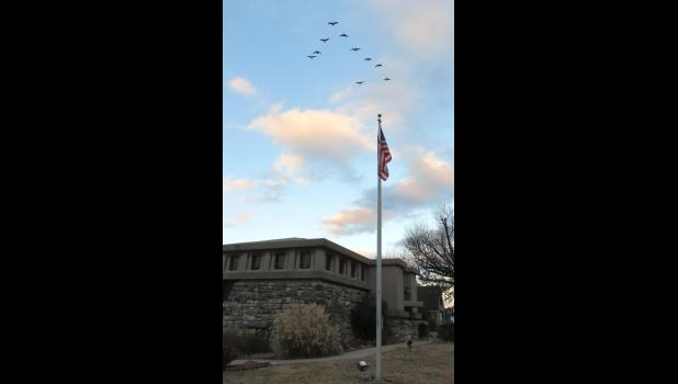 Ten Canada geese flew in formation over Stinson Memorial Library in Anna last Sunday evening.