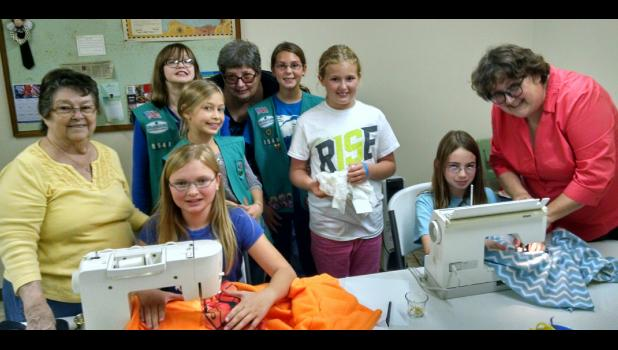Girl Scout Troop 8548 is working on its Bronze Award. Their project includes making and collecting blankets for veterans at the Illinois Veterans Home in Anna.  Photo provided.