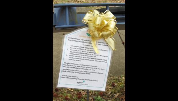 A bright yellow ribbon happened to catch the writer's attention during a visit to the Lincoln Memorial Picnic Grounds one day last week.