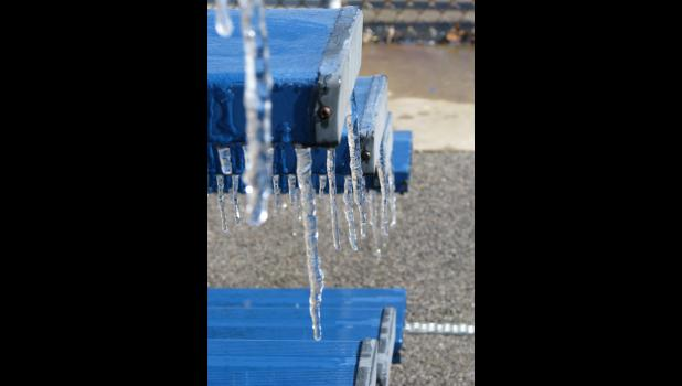 Icicles dangled from bleachers at the Anna City Pool last week.
