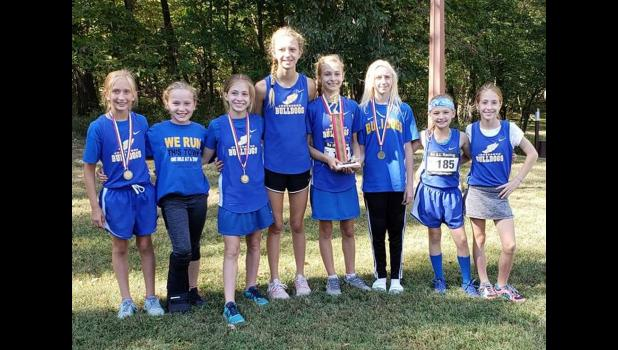 Jonesboro School girls' cross country team members are, from left, Kenzie Miller, Mackenzie Barnhart, Reese Jones, Mackenzie Pearson, Zoe Jones, Brianna Hileman, Kinley Leek and Reagan Jones. Photo provided.