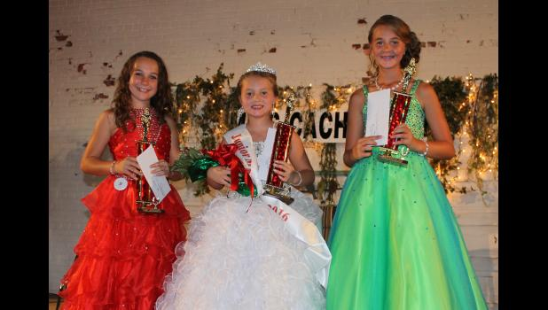 Junior Miss Cache River court: From left are first runner-up Mackenna Prout, Junior Miss Cache River Queen Kiara Aden and second runner-up Jadeyn Biggerstaff.