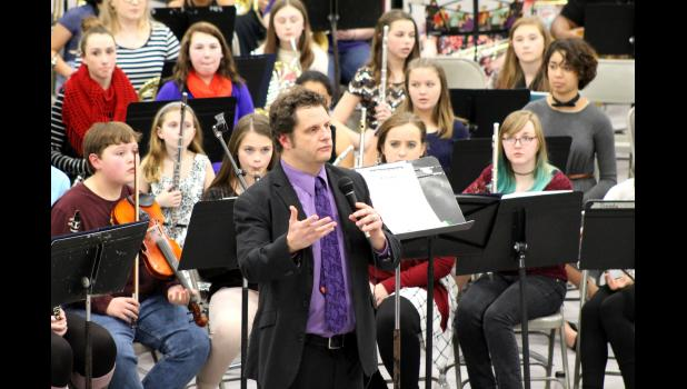 The new music instructor at Shawnee Community College, Lee VanAlstine, conducted his first Shawnee Pride performance on Thursday, March 2. Photo by Lindsey Rae Vaughn.