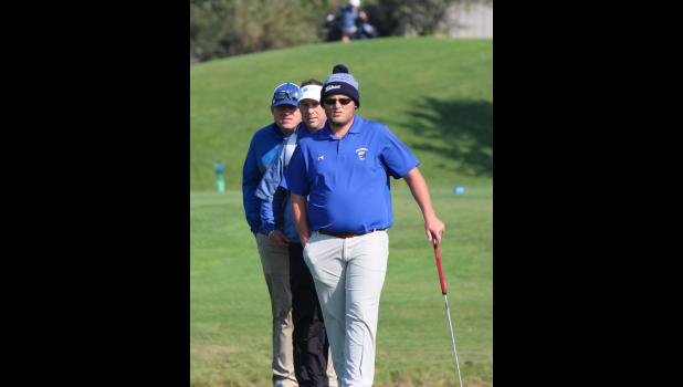 Anna-Jonesboro's Levi Hall participated in the Illinois High School Association state golf tournament Oct. 13-14.  He placed 66th at the state tournament, which was played at the Prairie Vista Country Club in Bloomington. Pictured are Levi Hall and A-J coaches Brandon Bierstedt and Matt Lang. Photo provided.