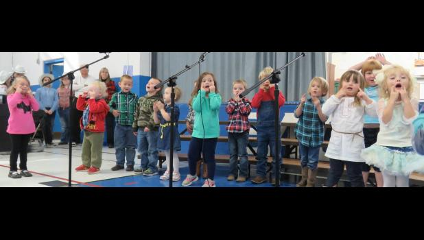Pre-kindergarten students sang some nursery rhyme songs for their guests during the Grandparents Day events at the Union County school. Photo by Amber Skelton.