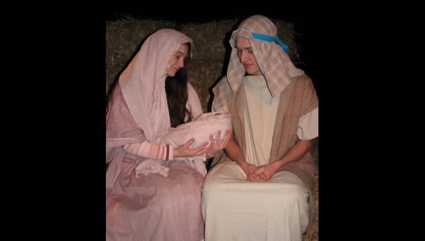 "Clare Bunyan portrayed Mary and Jacob Staley was Joseph during the recent presentation of ""A Night in Bethlehem"" at the First Baptist Church in Cobden."