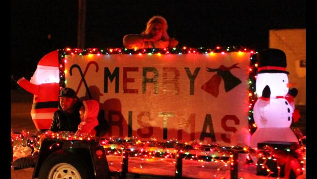 One of the floats in the parade shared a message for the season by wishing everyone a Merry Christmas. Photo by Lindsey Rae Vaughn.