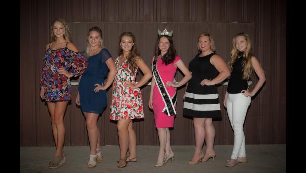 Miss Union County Fair: from left are Madison Lingle, Brooklyn Cast, Grace Pitts, 2016 Miss Union County Fair Clare Bunyan, Jericha Carter and Erin Dillow. Photo by Tiffiny Dillow.