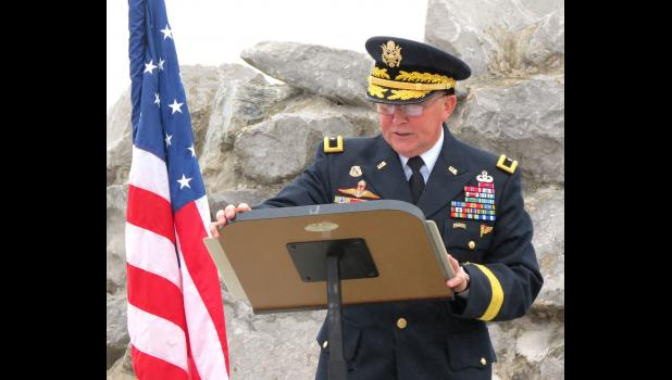 A dedication ceremony was conducted in May 2019 for a monument in downtown Anna which honors veterans and fallen comrades. The keynote speaker at the ceremony was Brig. Gen. James Bonner. File photo.