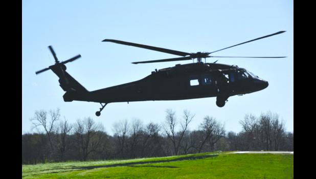 An Illinois National Guard helicopter lands on the campus of Shawnee Community College. Shawnee Community College photo.