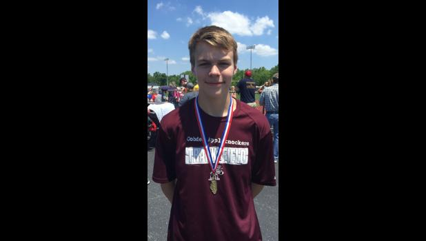 Noah Franklin, an 8th grader at Cobden Junior High School, recently won the SIJHSAA Class S state high jump championship. Photo provided.