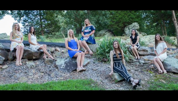 Coronation of a new queen will be one of the highlights of the upcoming Cobden Peach Festival. Candidates in the 2019 pageant, as well as the 2018 Peach Festival queen, gathered for a photograph. From left are 2018 Peach Festival queen Grace Pitts and 2019 queen candidates Lauren Lyerla, Meredith Flamm, Lexi Miller, Grace Girtman, Alejandra Lopez and Addison Osman. Photo by Tiffiny Dillow for The Gazette-Democrat.