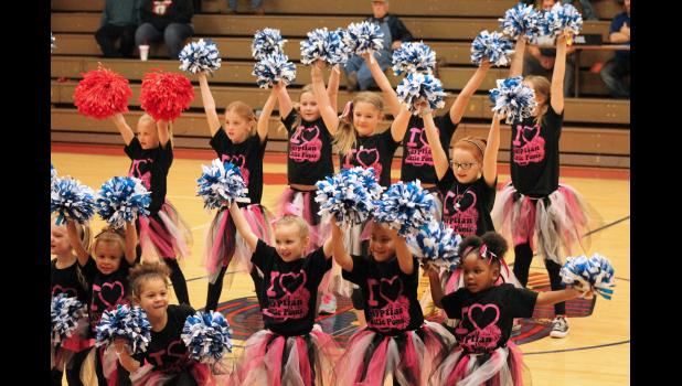 The Egyptian Elementary School pom pom squad performed a routine during halftime of a high school junior varsity boys basketball game on homecoming night, Friday, Feb. 10, at the Tamms school. Photo by Lindsey Rae Vaughn.
