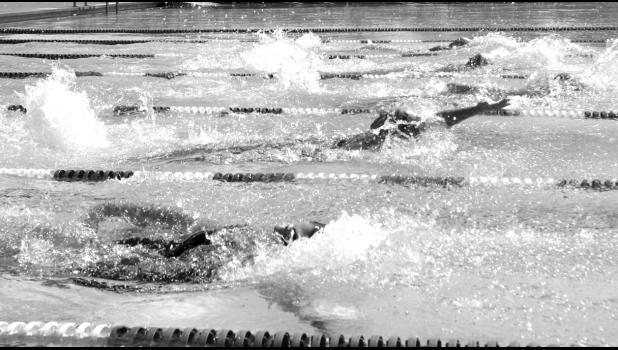 Swimmers competing in the invitational.