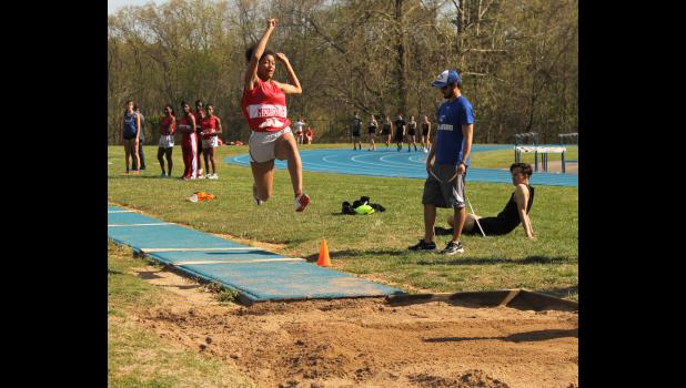 Meridian's Ra'Kyah Jeter competed in the long jump at a recent high school track meet at Anna-Jonesboro Community High School on Wednesday, April 12. Photo by Lindsey Rae Vaughn.