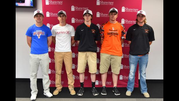 Christian Pearl, Layton Edmonds, Jaden Schell, Dallas Reynolds and Josh Turnage have signed national letters of intent to continue their baseball careers at Shawnee Community College. Shawnee Community College photo.