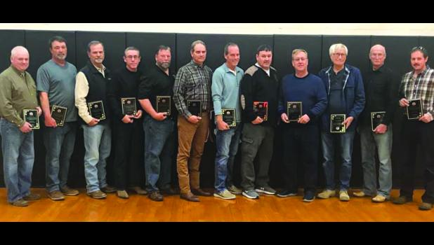 The 2019-2020 Shawnee's Best recipients have been named by Shawnee Community Unit School District No. 84. Those honored as Shawnee's Best were 15 levee commissioners from the Big 5 levee districts: Clear Creek, Grand Tower, McClure-East Cape, North Alexander and Preston. From left are Shawnee's Best: Kent Treece, David McMahan, Randy Lambdin, Charles Webb, David Stevens, Joe Schneider, Randy Colyer, John Schaefer, Shawn McMahan, Jerry Schaefer, Mitchel McLane and Matthew Follis. Levee commissioners who coul