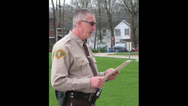 Union County Sheriff Scott Harvel read a proclamation at Tuesday morning's ceremony which declared April as Child Abuse Prevention Month.