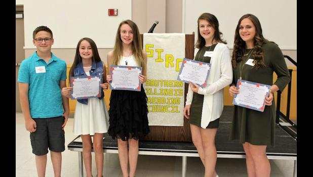 Southern Illinois Reading Council short story winners from Union County included, from left, Tyer Cunningham, Victoria Perez, Evelyn Eddings, Jaley Watkins and Anna Hess. Photo provided.