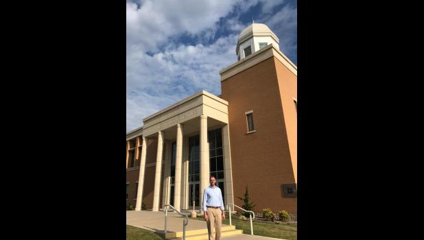 Illinois State Treasurer Michael W. Frerichs visited the Union County Courthouse in Jonesboro on Monday, Aug. 28. Photo provided.