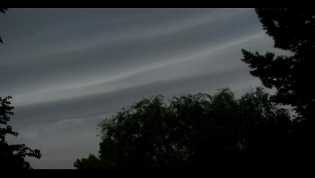 Here we go again...stripes in the sky on Thursday evening, June 28, suggested that something ominous was about to happen. And it did. We had yet another round of stormy weather, including a deluge, strong winds, yada, yada, yada...