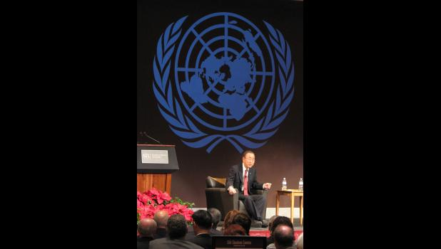 United Nations Secretary-General Ban Ki-moon delivered a public address Wednesday morning, Dec. 21, at Southern Illinois University Carbondale.