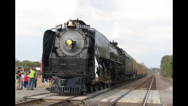 Union Pacific steam locomotive No. 844 made a stop in Wolf Lake on Oct. 19. The locomotive stopped on the tracks at the State Forest Road crossing in the Union County community.