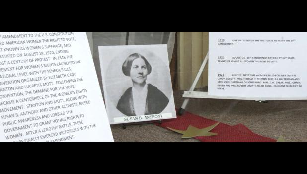 A picture of women's rights advocate Susan B. Anthony is featured in an exhibit which is on display in a window at the Union County Museum in downtown Cobden. Anthony visited Cobden in 1877.