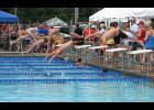 The Anna Blue Dolphins hosted the Southern Illinois Swim League's 2018 championship meet on July 28. The meet was held at the Anna City Pool. The picture was taken during one of the boys' events at the meet.