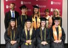 First row, from left, Alena Cowsert, Rachel Kindhart, Remington Fisher and MaKayla Holder. Second row, Josh Stafford, Rian Shaneyfelt, Hannah Loyd, Gabriele Farner and Dr. Vickie Artman. SCC photo.