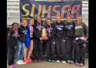 Members of the state champion Lick Creek Lady Eagles track team include, from left, Jadyn Gerardi, Kenzie Stover, Brodie Denny, Kaylee Stover, Shea Thorne, Kiley Dailey, Hailey Wright and Meranda Wright. Photo provided.