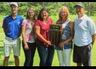 From left are Carson Reynolds; Kamryn Glasco; Emma Ray; Cindy Tucker, the president of the Brian S. Tucker Memorial Golf Scholarship Fund Ltd.; and Brandon Bierstedt, the golf professional at the Union County Country Club in Anna. Scholarship recipient Chloe Gamber could not be present for the picture. Photo provided.